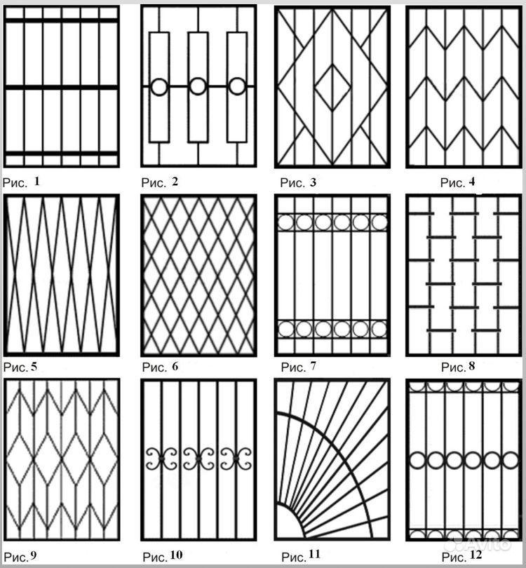 Рисунок для решетки на окна из прутка