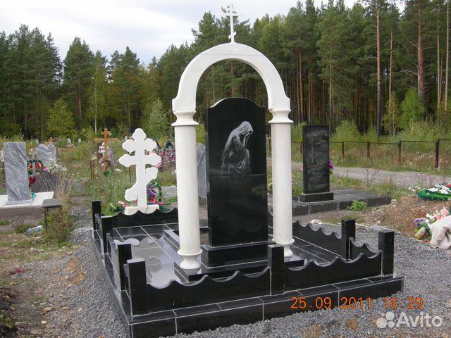 Памятник из цветного гранита Южноуральск Эконом памятник с резным крестиком в углу Бугуруслан