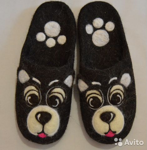 a0cfd21a2cc1 Валяные тапочки мужские Мишки (домашняя обувь) купить в Московской ...