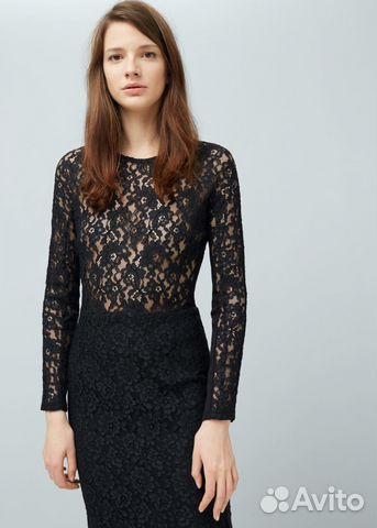 9e5dc96f497 Черное кружевное платье Mango
