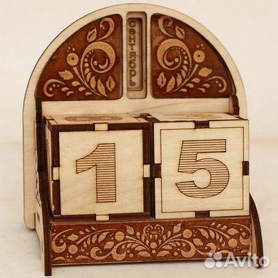 Вечный календарь Узор 10*9*9 см. береста