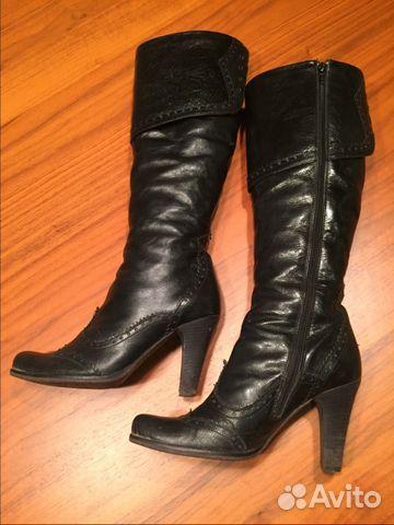 7d70666bf80f Зимние кожаные сапоги на каблуке