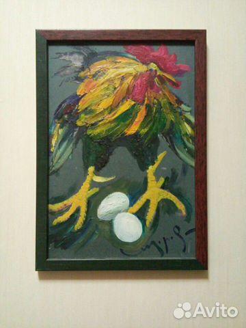 Картина Сидорова Петух и два яйца. Картон, масло