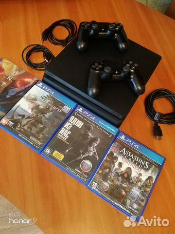 Sony PS4 slim, 2 геймпада, 4 игры  89644720337 купить 1