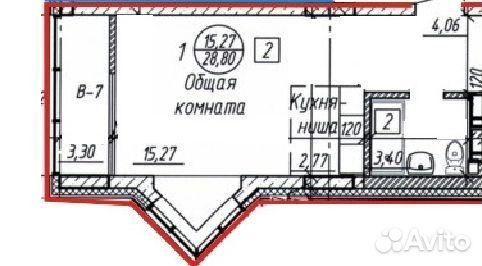 Студия, 29 м², 8/10 эт.  89016456517 купить 2