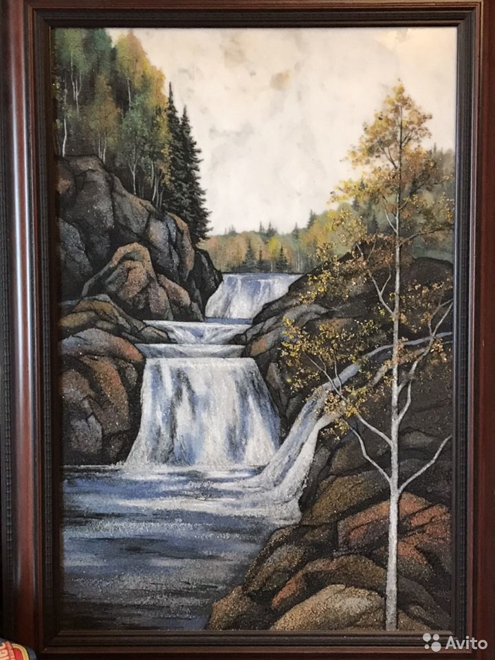 Картина из камней самоцветов Водопад Кивач
