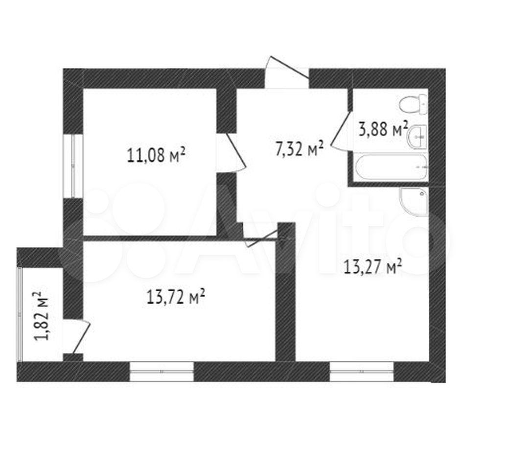 2-к квартира, 49.3 м², 7/16 эт.